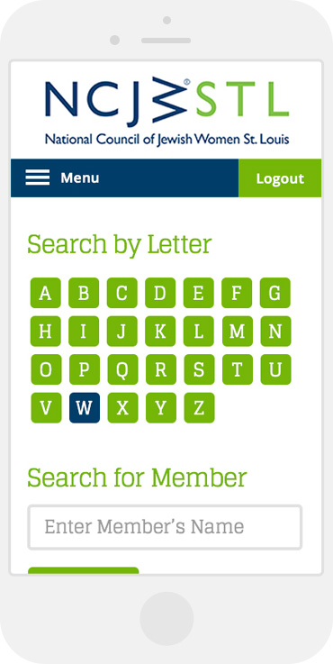NCJW member directory mobile view