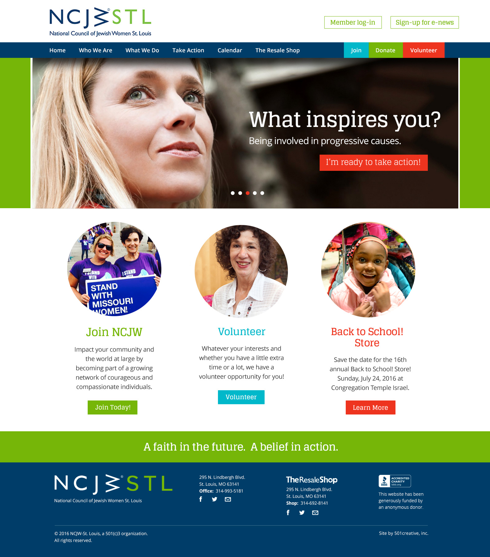NCJWSTL website home page menu system