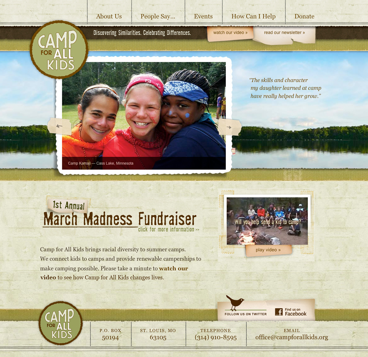 Camp for All Kids website home page
