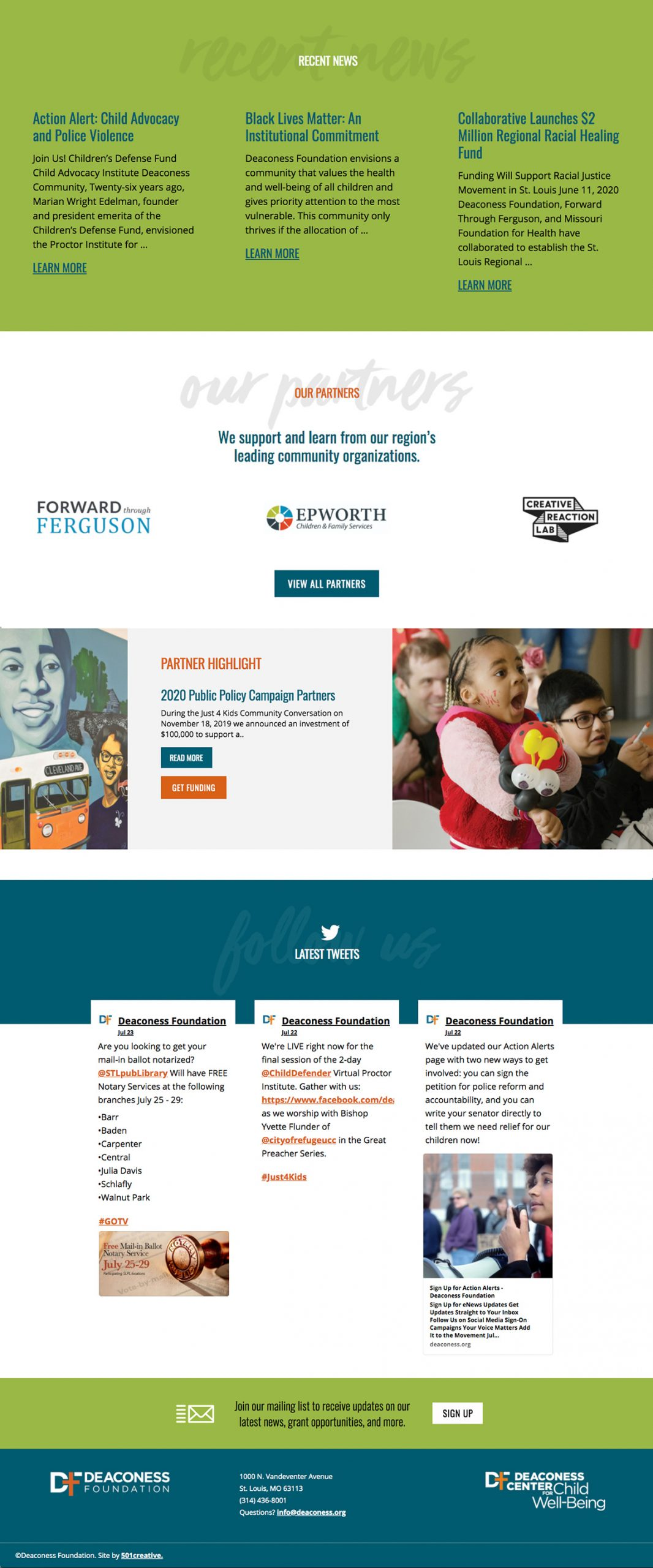 home page of the Deaconess Foundation website