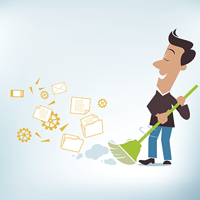 person sweeping up files and digital icons